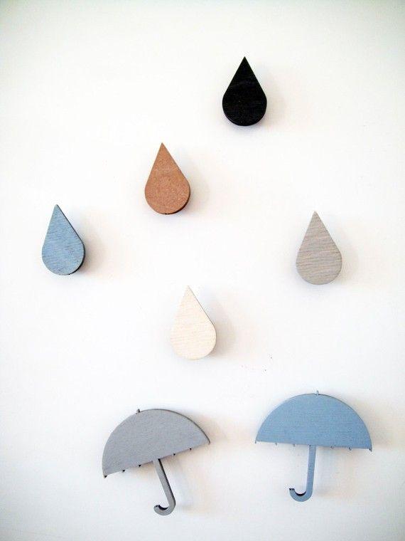 Raindrop & umbrella magnets! I think my fridge needs these;)