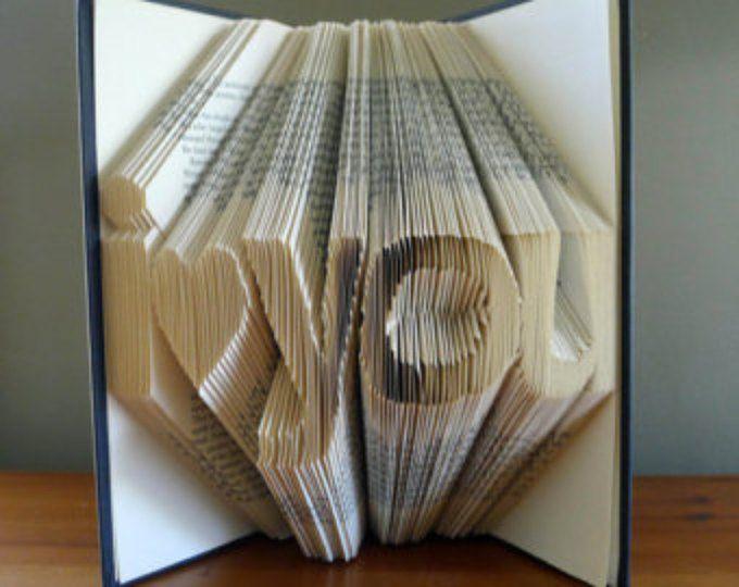 Regalo novia - plegado libro arte - novio regalo - regalo de aniversario - superventas punto - te quiero - escultura hecha a mano - marido / esposa