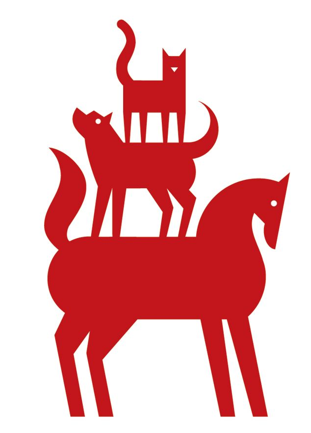Gardner Design Kansas Humane Society Logo Design Silhouettes Of A Cat Dog And Horse Are Used To Represent Animals Color Red Humane Society Logo