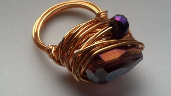 Wrapped Gold Purple Ring