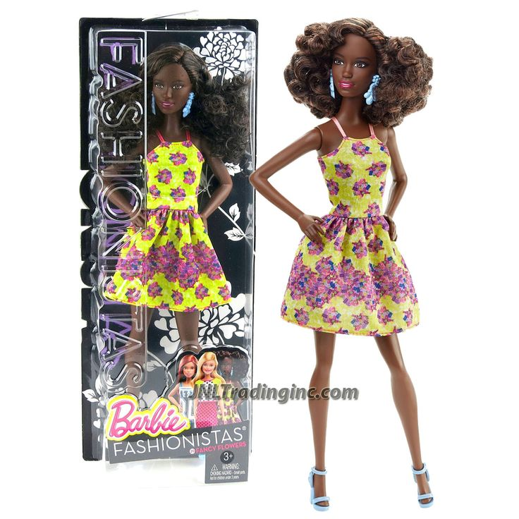 "Barbie Fashionistas 12"" Doll - SHANI (DGY65) in Yellow Fancy Flower Dress with Earrings"