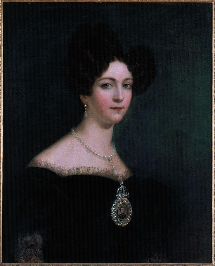 Retrato de Dona Amélia de Beauharnais, Imperatriz do Brasil, em pintura do segundo quartel do século 19.