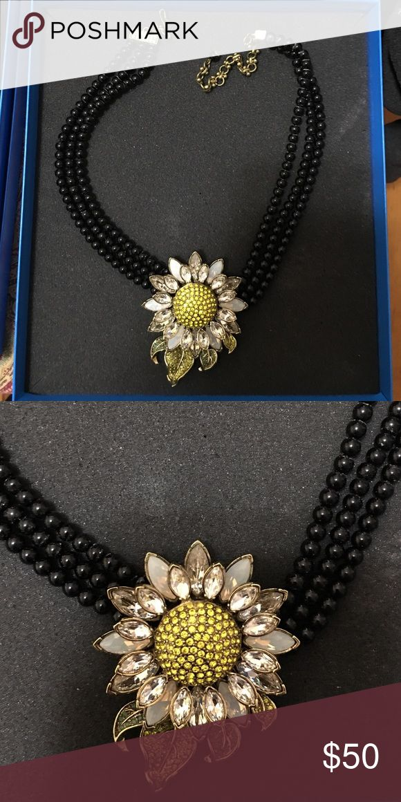 Necklace Statement necklace, Heidi Daus HSN. New never worn. Cute sunflower design. Black beads. Heidi Daus HSN Jewelry Necklaces