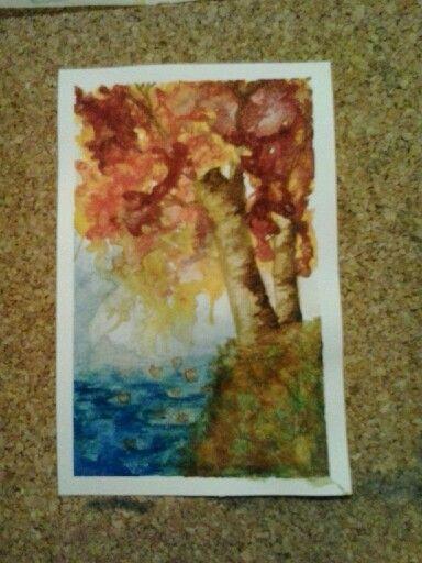 acquerello autunno,foglie sull' acqua