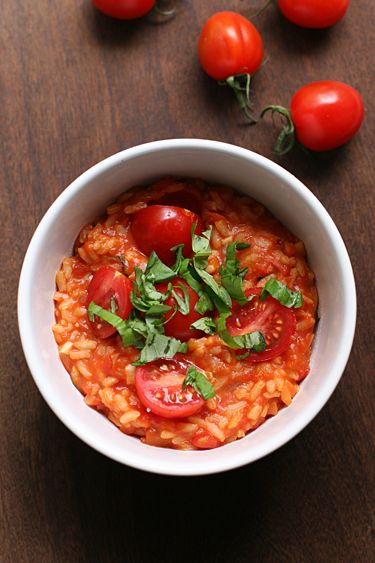 Tomato/mozzarella risotto (Rezept auf deutsch)