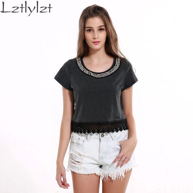 Knitted Women Tops Dark Gray Casual Rivet Lace Crochet Top Summer Blusa Ladies Shirt Women T-shirt Clothes