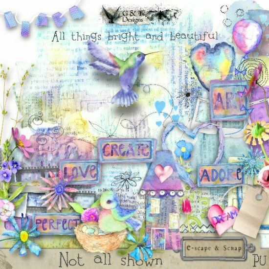 G & T DESIGNS ALL THINGS BRIGHT AND BEAUTIFUL. Includes 80 elements, 14 Papers and 10 Wordarts. Available at E-scape and Scrap