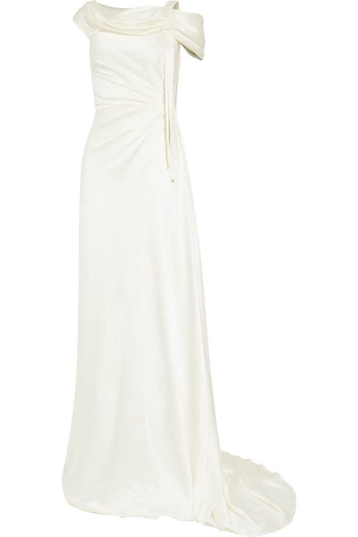 Alberta FerrettiDraped silk-satin gown
