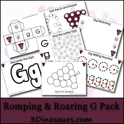 Download a free Romping & Roaring Letter G Printable Pack from 3 Dinosaurs.