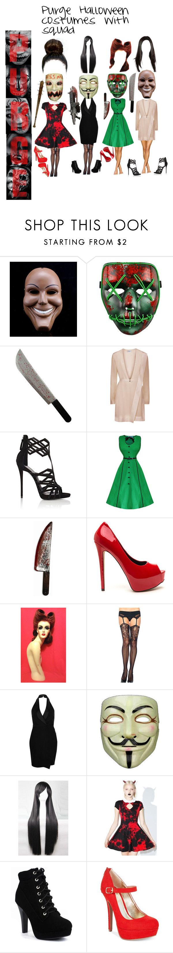 """""""Purge Halloween costume with squad"""" by keaira13 ❤ liked on Polyvore featuring Giuseppe Zanotti, Chicnova Fashion, River Island, Killstar and Material Girl"""