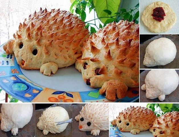 Porcupine Bread food bread food art doesn't go to a recipe, have no idea what is in the middle but sooo cute anyway.