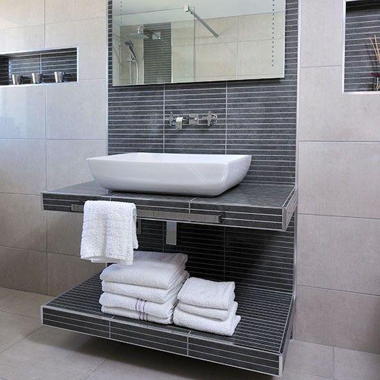 Modern tiled bathroom with basin | Decorating | housetohome.co.uk