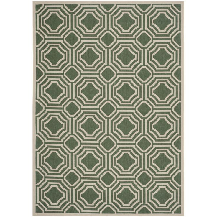 "Safavieh Indoor/ Outdoor Moroccan Courtyard Dark Green/ Beige Rug (6'7 x 9'6) , Size 6'7"" x 9'6"" (Olefin, Geometric)"