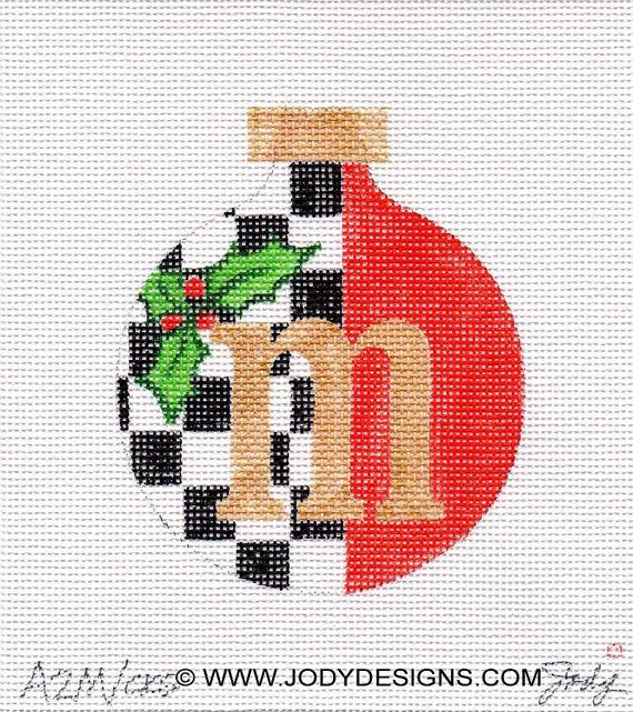 Christmas Alphabet Letter Needlepoint Ornament - Jody Designs choice of letter and style