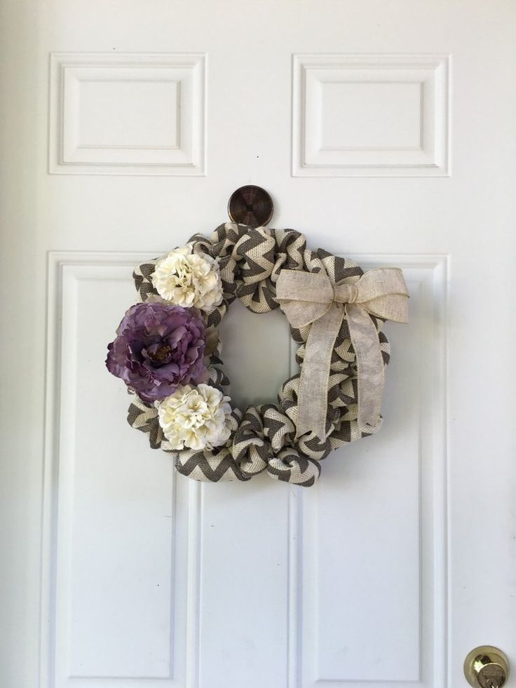 """Cream and Purple"" Chevron Burlap Wreath"