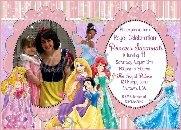 74 best birthday invitations images on pinterest birthday disney princess birthday invitation with childs photo 6 different princesses and your childs photo custom stopboris Images