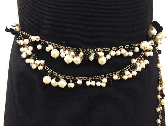Chanel Belts Chanel From The 2007 Cruise Collection Pearls & Jet Black Enameled Cc & Velvet Bows Tiered Belt Necklace