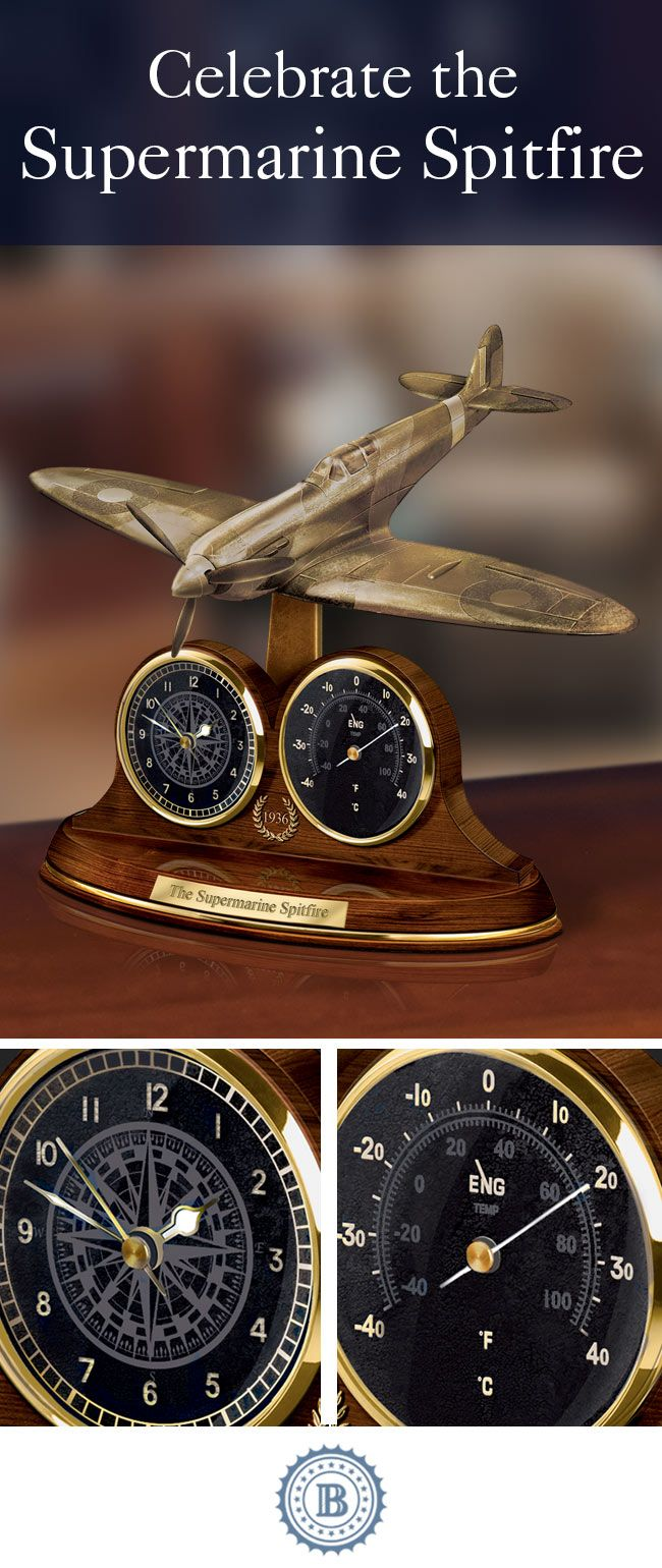 Celebrate a legendary British fighter aircraft! This limited-edition thermometer and clock tribute features a cold-cast bronze fighter plane sculpture with a real working propeller.