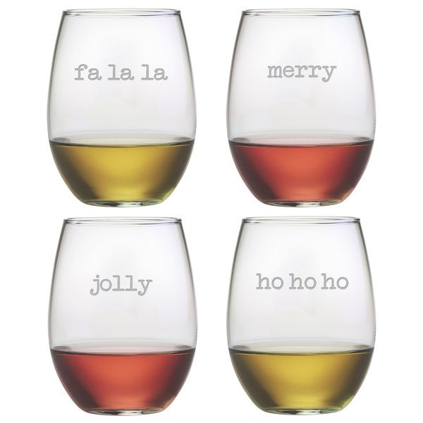 Assorted Holiday Stemless Wine Glass (Set of 4)