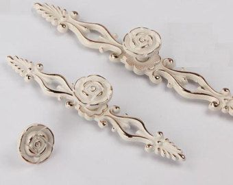 Comò tira cassetto tira maniglie pomelli maniglie armadio porta maniglia francese oro bianco crema argento fiore rosa mobili decorativi manopola JM