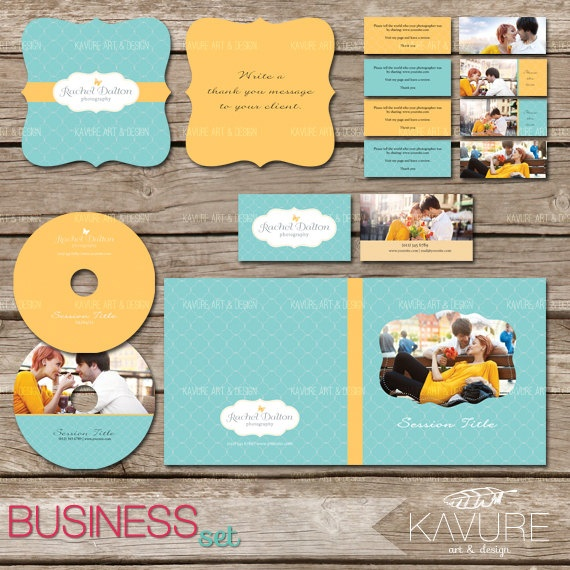 For photographers: Yellow-Teal Photography Marketing Set, Business Set #photography #branding #identity