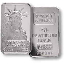 Credit Suisse 5 Gram Platinum Bar - Bullion