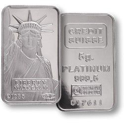 Credit Suisse 5 Gram Platinum Bar - Bullion