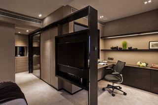 TV hanger serves as room divider - custom made