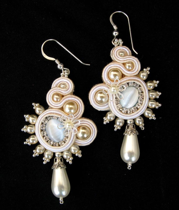 Soutache bridal earrings in White, Cream and Silver. $65.00, via Etsy.
