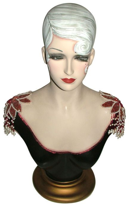 Hand-painted Vintage Art Deco mannequin bust of superior quality.