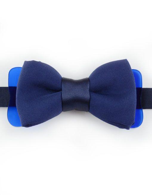Papillon Blu Navy con Plexiglass - Papillon Italiano handmade - made in italy - moda uomo - shop online - fatto a mano