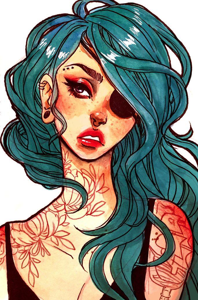 "Pirate Mermaid 5x7"" Print"