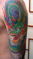 Japanese Dragon Arm Sleeve Tattoo