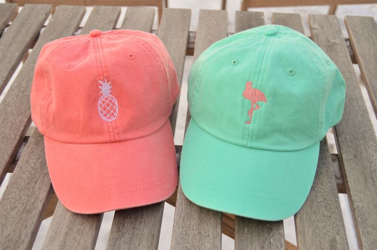 Monogrammed hat, Pink Flamingo Hat, Bicycle logo hat, Fish logo hat, Pineapple Hat, Monogrammed logo hat, Mountain logo, Cotton Logo Hat by LakeshoreMonograms on Etsy https://www.etsy.com/listing/490417202/monogrammed-hat-pink-flamingo-hat