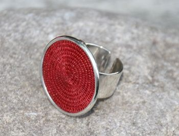 Silver and sisal ring - red