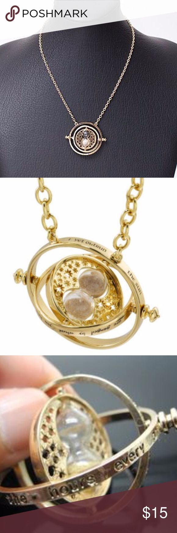 """New Harry Potter Time Turner Necklace Authentic Recreation of Hermione Granger's Time Turner Necklace.  It has a little hour glass & rotates & spins! This is a gift any true HP fan would love to own!   The time turner comes on a long 20"""" chain """" I mark the hours, every one, nor have I yet outrun the sun.  My use & value , unto you, are gauged by what you have to do"""" it is made of yellow gold-tone alloy metal & sand I cannot guarantee this will actually allow you to time travel but I can…"""