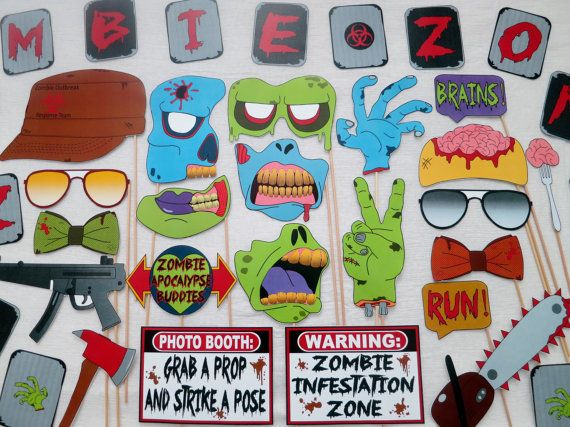 PDF Zombie Apocalypse Photo Booth Props by chelawilliams on Etsy
