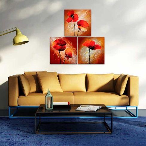 Obraz ręcznie malowany na płótnie z kwiatami maków - subtelna dekoracja do salonu i nie tylko!