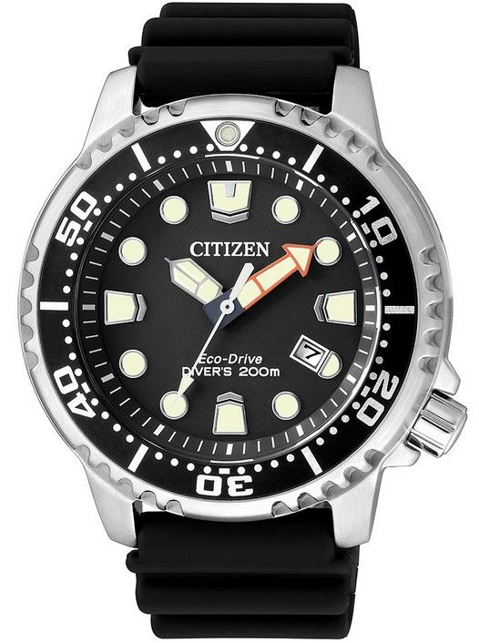 Montre Citizen Promaster Eco-Drive BN0150-10E, fonction date, lunette rotative noire et bracelet caoutchouc noir.