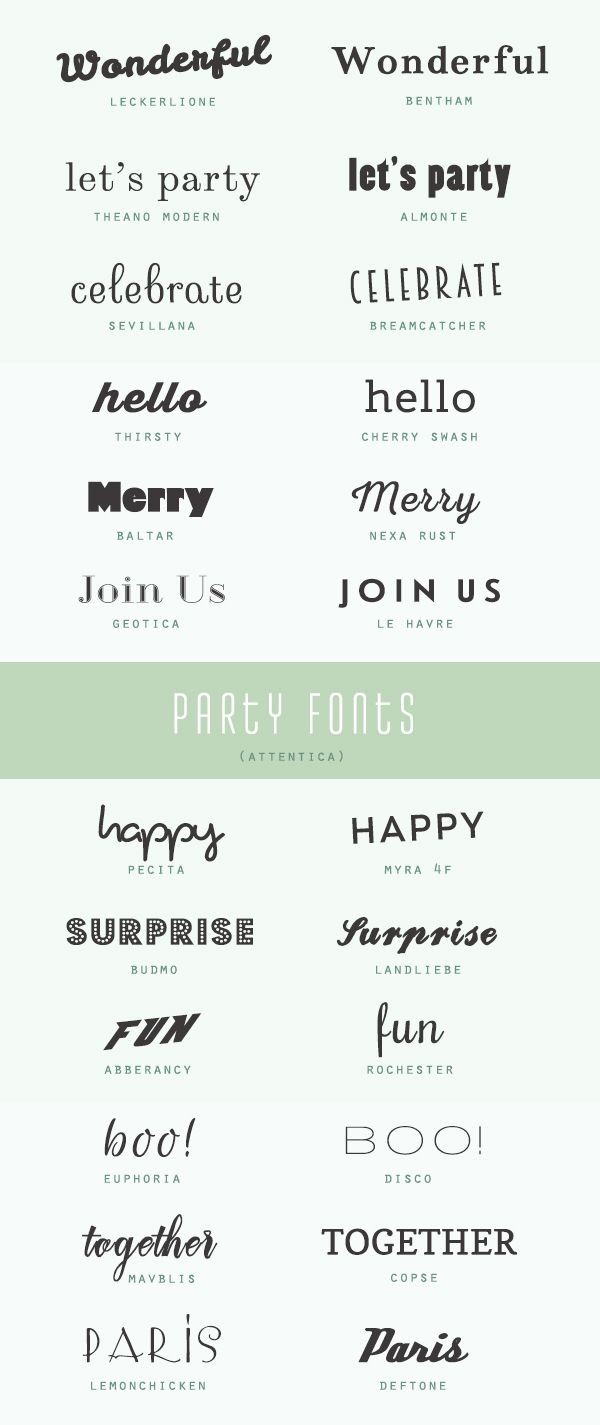 Free & fabulous party fonts