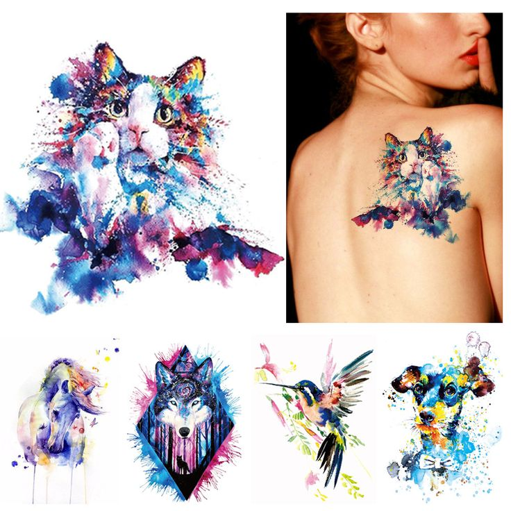 1x DIY Body Art Temporary Tattoo Colorful Animals Watercolor Painting