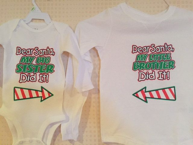 a980f6f0 Kids Christmas outfit - Big Brother, Little Brother or Big Sister and Little  Sister Shirt set of 2, Sibling Shirt, Tshirt and Onesie …