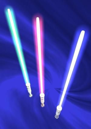 """Light sabers (stock image). """"Photonic molecules"""" behave less like traditional lasers and more like something you might find in science ficti..."""