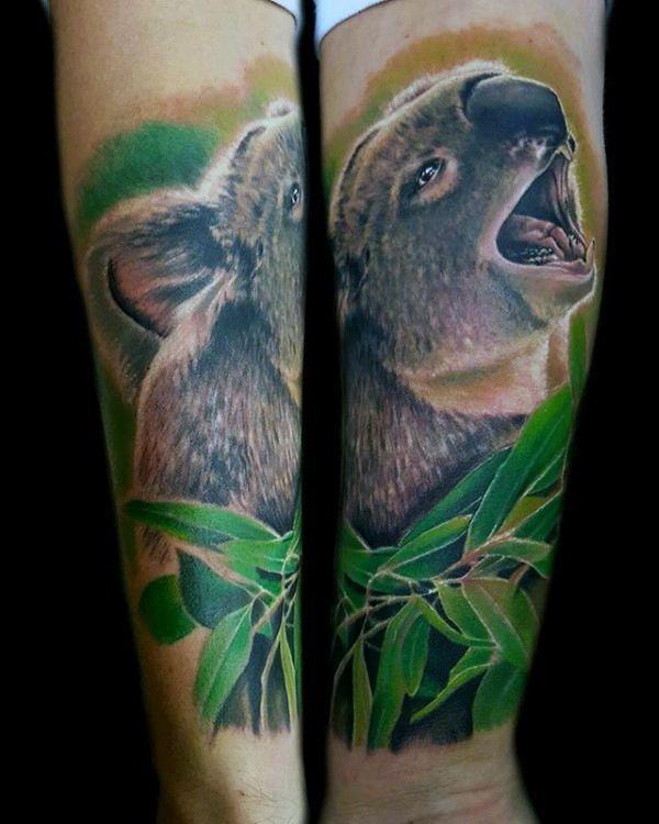 Koala With Green Leaves Mens Forearm Sleeve Tattoo Tattoosformen