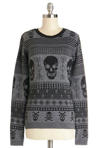 Skull Sweater - Grey, Novelty Print, Casual, Skulls, Long Sleeve, Better, Grey, Long Sleeve, Crew, Knit, Mid-length, Winter