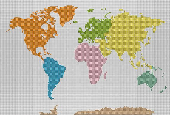 Counted cross stitch pattern, World Map, Globe map, Instant Download, PDF pattern, Hand designed by Dueamici