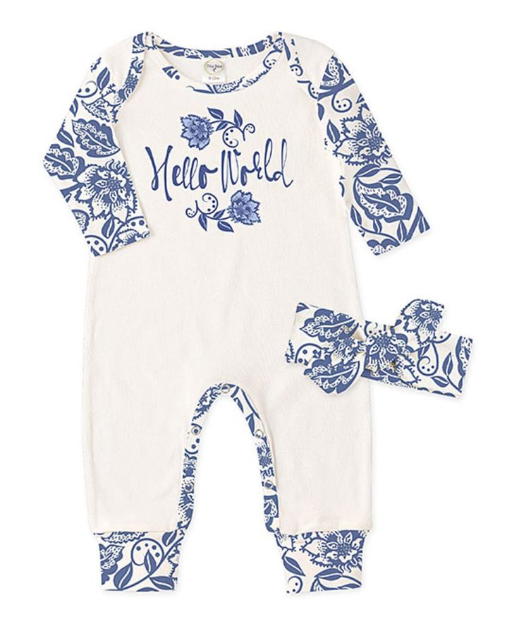Take a look at this Ivory & Blue Floral 'Hello World' Playsuit & Headband - Infant today!