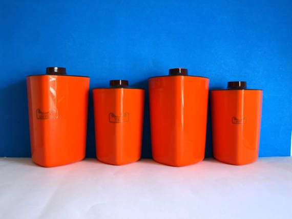 Decor Plastic Orange & Brown Canisters  Vintage by FunkyKoala
