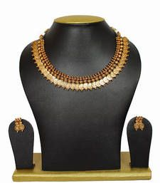 Buy Highly Gold Polish Haram Necklace With Earings  For Women necklace-set online