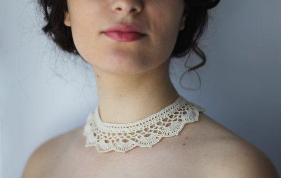 Oriental Style Crochet Collar Light Cream color